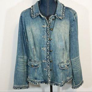 J Jill denim jacket ruffled accents size L